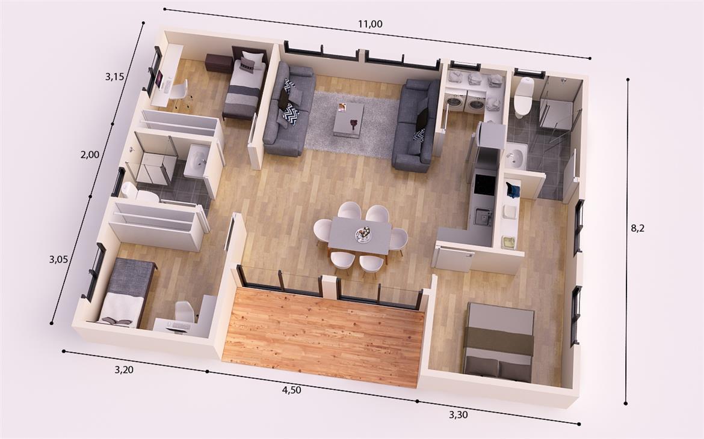 Plano 3d pintores madrid for Cuanto cuesta pintar un piso de 100 metros
